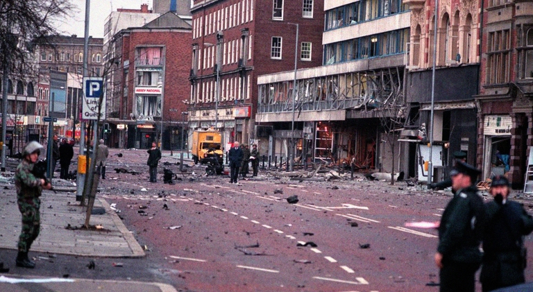 IRA bomb explosion beside my workplace in belfast city centre in 1992 (i worked in the shop behind that yellow van and we got out just in time) via warrenfyfenews.net